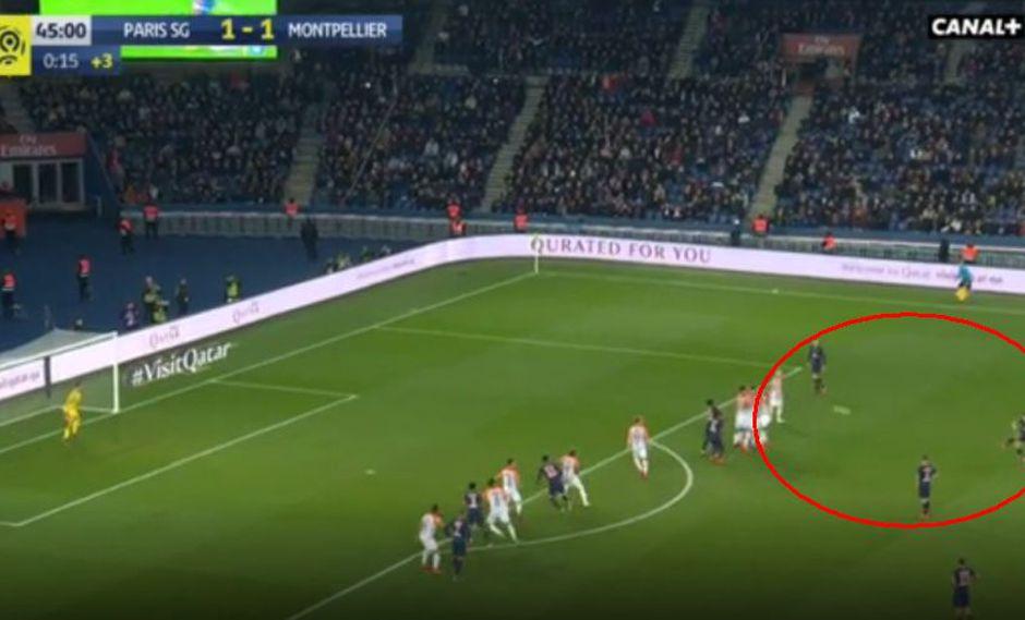 Ángel Di María fue el autor del 2-1 con un majestuoso disparo de tiro libre en el PSG vs. Montpellier por la Ligue 1 de Francia (Foto: captura de pantalla)
