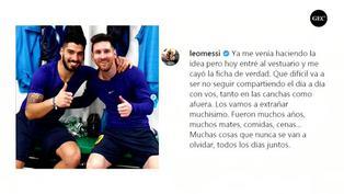 Lionel Messi se despide de Luis Suárez con otra 'indirecta' a la directiva de Barcelona