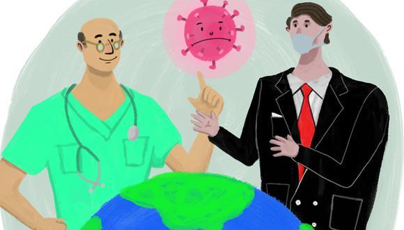 """""""El coronavirus también está sirviendo para traer de nuevo a la palestra y darles un rol protagónico a expertos y científicos"""". (Ilustración: Giovanni Tazza)."""