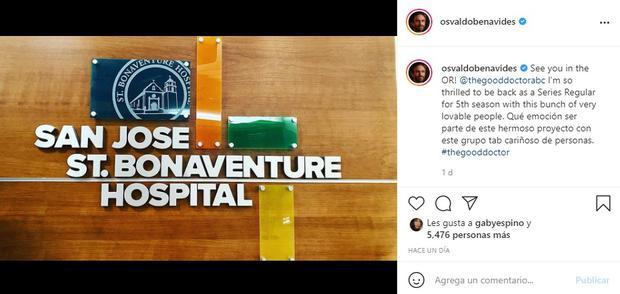 """Osvaldo Benavides confirmó en su cuenta de Instagram que se convertirá en uno de los regulares de """"The Good Doctor"""" en la temporada 5. (Foto: Osvaldo Benavides/ Instagram)"""
