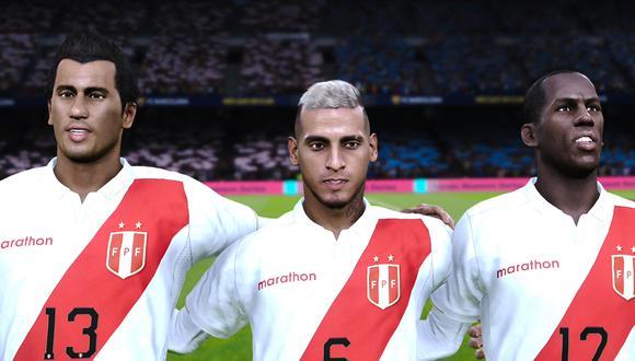 Renato Tapia, Miguel Trauco y Luis Advíncula en PES 2021. (Captura de pantalla)