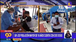 En Tacna el 58% de la población mayor de 18 años ya cuenta con dos dosis