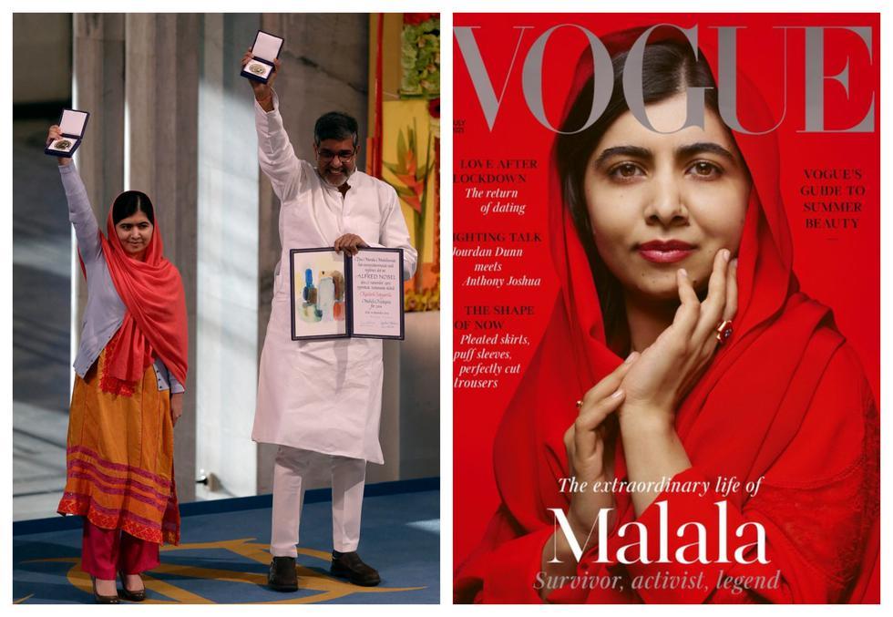 En el 2014, Malala recibió el Premio Nobel de la Paz por su lucha en favor de la educación de las niñas y adolescentes de su país, Pakistán. Por ello, el grupo insurgente talibán le disparó en la cabeza cuando iba a clases. Nueve años después, ella es símbolo de la causa. (Foto:  AFP / British Vogue)