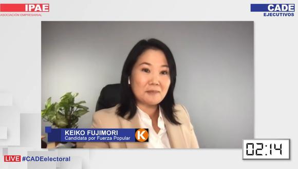 Keiko Fujimori participa este jueves de la segunda jornada del CADE Electoral. (Imagen: El Comercio)