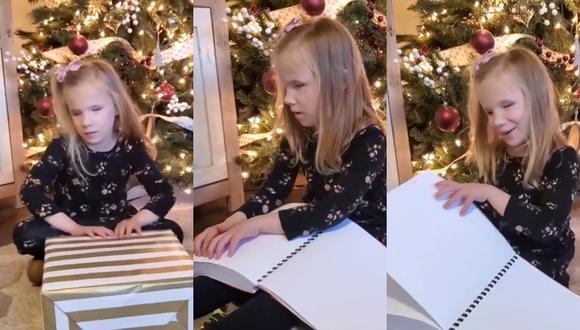 Un video viral muestra la conmovedora reacción de una niña al descubrir el regalo especial de Navidad que recibió de su tía. | Crédito: @katescookieskc / Instagram.