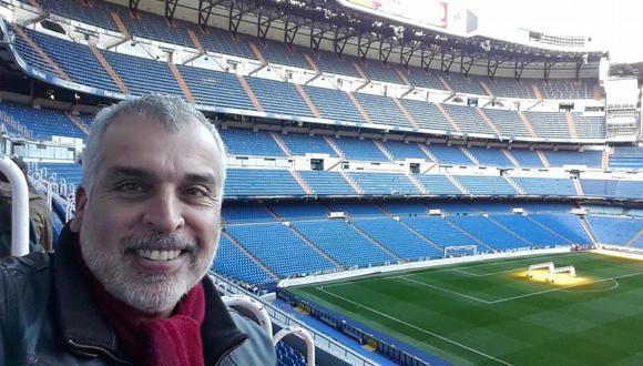 Pedro Ortiz Bisso, hasta hoy uno de los subdirectores de El Comercio, en el Santiago Bernabéu.