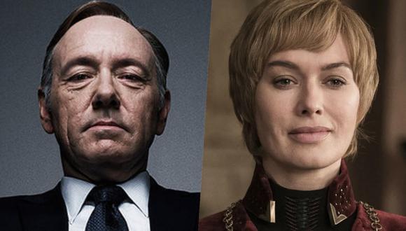 """De izquierda a derecha, los siniestros Frank Underwood (Kevin Spacey) y Cersie Lannister (Lena Headey) de """"House of Cards"""" y """"Game of Thrones""""; respectivamente. Dos series sobre política, aunque con diferente ambientación. Fotos: Netflix/ HBO."""