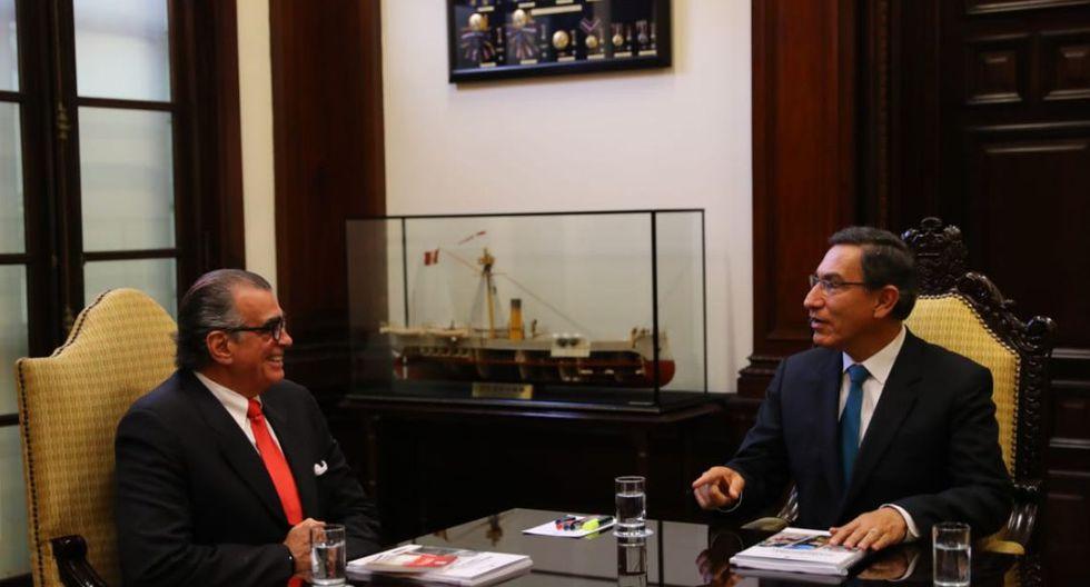 Pedro Olaechea y Martín Vizcarra en el hemiciclo del Congreso, el día del mensaje a la nación del 28 de julio. Hoy se reunirán en Palacio de Gobierno. (Foto: Presidencia de la República)