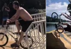 Hombre intenta hacer temeraria pirueta con su bicicleta y casi le ocurre lo peor