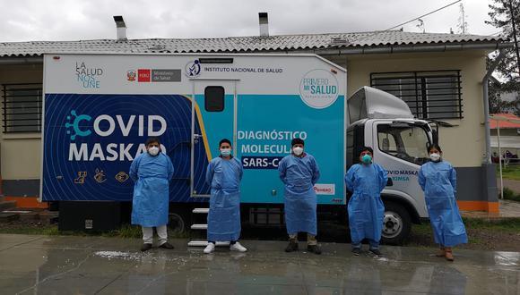 """Laboratorio móvil """"COVID Maskaq"""" procesará 200 muestras diarias para descartar casos de coronavirus en Áncash. (Foto: INS)"""