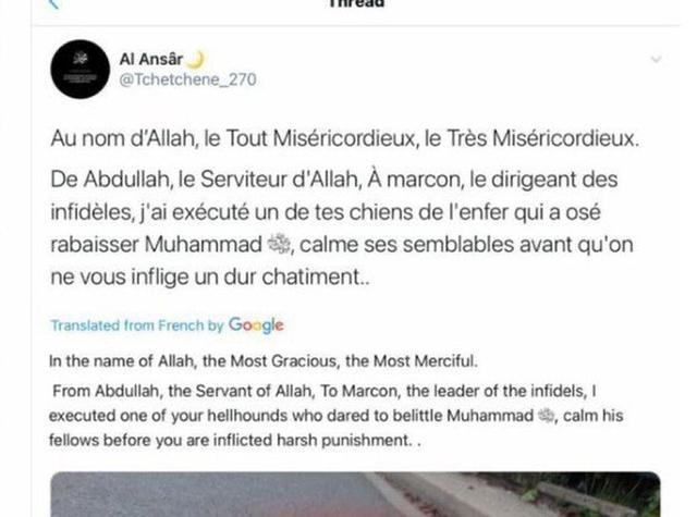Tuit sobre el maestro decapitado en Francia. La cuenta y el contenido han sido eliminados en la red social. (Foto: captura de pantalla de Twitter)