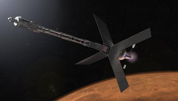 Ilustración de un hábitat de tránsito de Marte y un sistema de propulsión nuclear que algún día podría llevar a los astronautas al planeta rojo. (NASA)