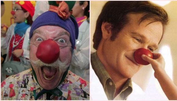 A la izquierda, la alegría desbordante de Patch Adams, durante una visita al Perú en 2005. A la derecha, Robin Williams en la película de 1998 que contó la vida del médico/ payaso. (Fotos: Miguel Bellido/Archivo El Comercio/ Difusión)