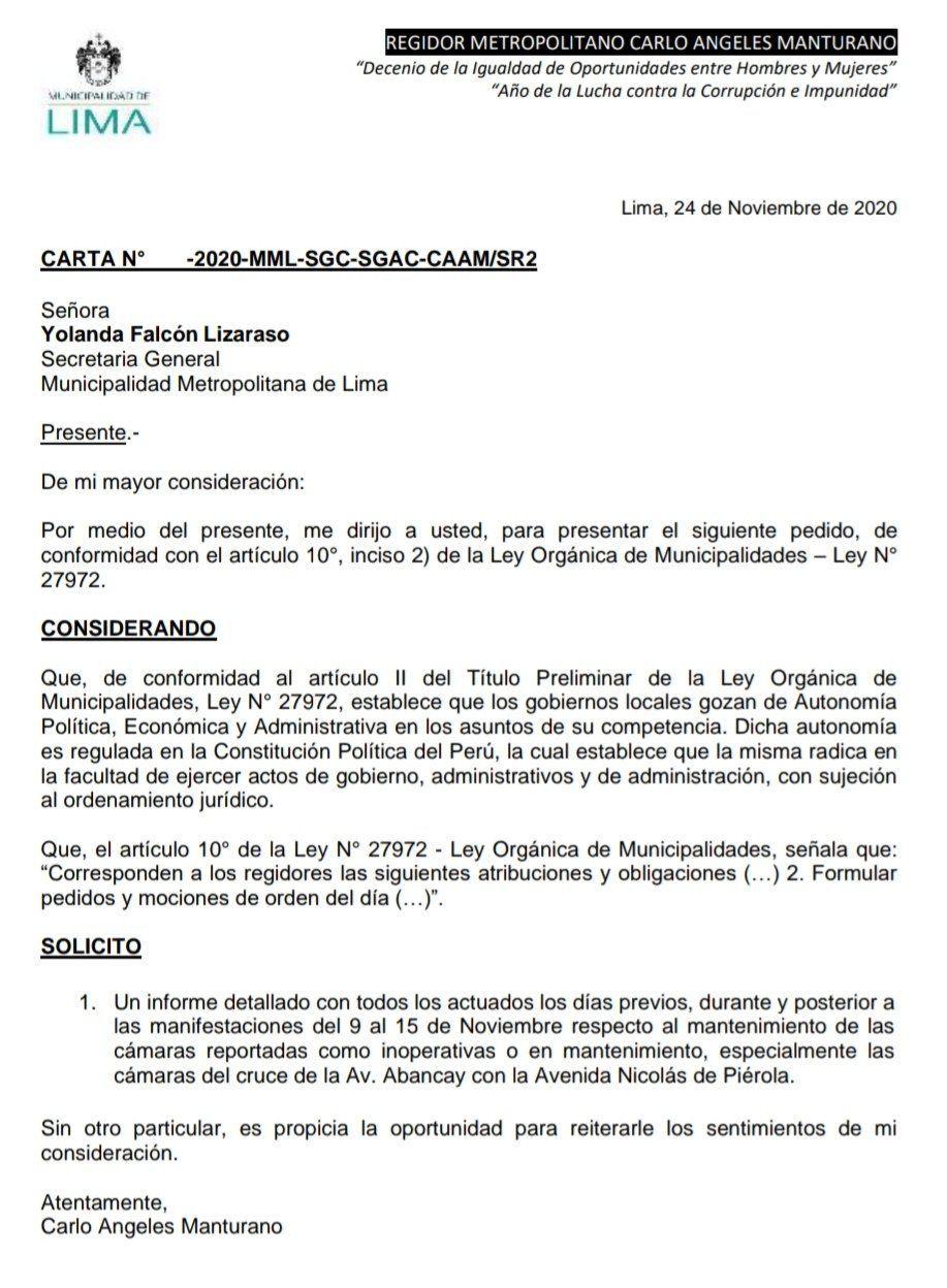 Este es el pedido hecho por el regidor Carlo Ángeles a la secretaría municipal para buscar esclarecer el verdadero estado de la cámara de seguridad en el cruce de las avenidas Abancay con Piérola. No ha tenido respuesta.