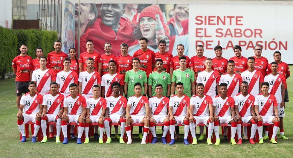 La actual selección Sub 20 de Perú, dirigida por Daniel Ahmed, que disputará el Sudamericano en Chile. (El Comercio)