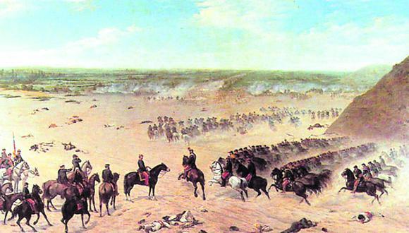 Ilustración de la batalla de Paucarpata  ( 1837 ), enfrentamiento en el marco de la Guerra contra la Confederación.