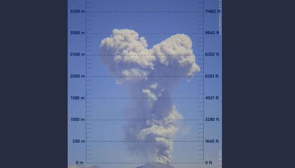 Las cenizas expulsadas por el volcán Sabancaya se vienen dispersando hacia el sector oeste del cráter. (Foto: IGP)