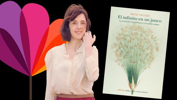 """La escritora Irene Vallejo ha conseguido con su libro """"El infinito en un junco"""" (Siruela, 2019) el Premio Nacional de ensayo de España 2020, además de otros siete galardones. (Fotocomposición: El Comercio)"""