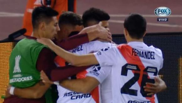 River Plate vs. Cerro Porteño: Santos Borré puso el 2-0 con este penal. (Foto: captura)