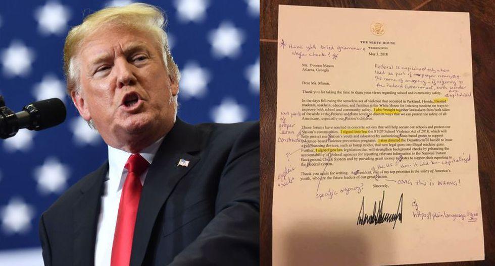 Facebook | Maestra corrige errores de una carta firmada por Donald Trump. (Foto: AFP / Facebook)