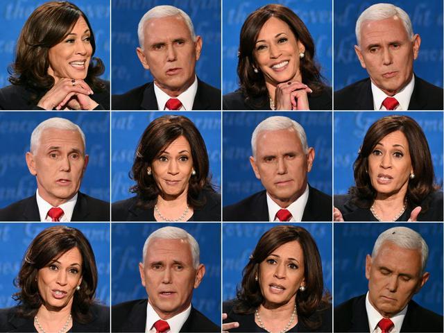 Una combinación de fotos de Kamala Harris y Mike Pence durante el debate. (Fotos: Robyn Beck y Eric BARADAT / AFP).
