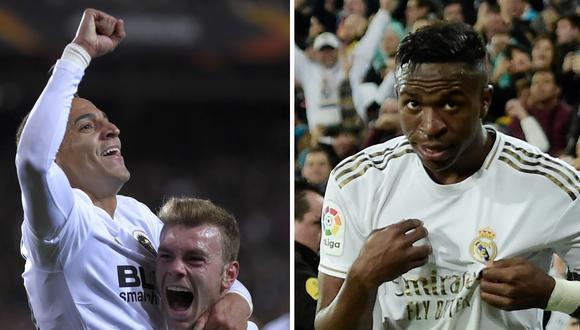 Rodrigo Moreno y Vinicius Junior podrían enfrentarse hoy en el Real Madrid vs Valencia por la jornada 29 de LaLiga de España. (Foto: AFP)