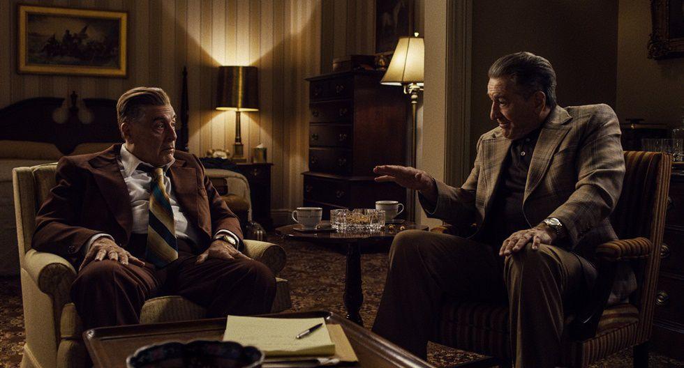 """""""The Irishman"""". Dirigida y producida por Martin Scorsese, la cinta está protagonizada por Robert De Niro, Al Pacino y Joe Pesci. Narra la historia de Frank 'The Irishman' Sheeran, un camionero que se vuelve asesino a sueldo. Está financiada y es transmitida en Netflix."""