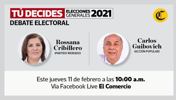 #TúDecides. El Comercio continúa este jueves con los debates virtuales de candidatos al Congreso de cara a las próximas elecciones.