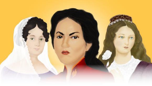 Tres mujeres, entre muchas, que se abrieron paso en el relato histórico sobre las luchas emancipadoras en Latinoamérica: Javiera Carrera, Juana Azurduy y María Ignacia Rodríguez de Velasco. (BBC).