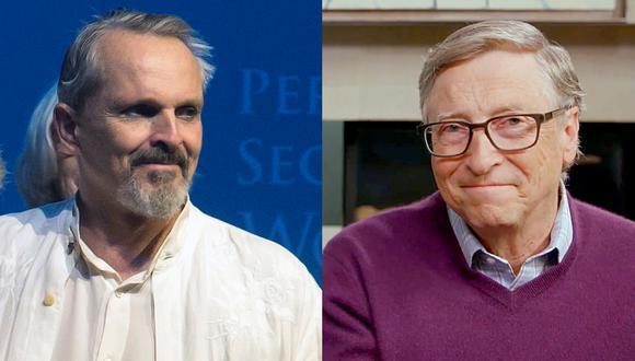 A la izquierda Miguel Bosé, quien desató la polémica por sus comentarios contra las vacunas; así como contra Bill Gates, su nuevo enemigo. Fotos: AFP.