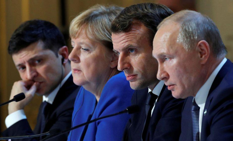 Los presidentes ruso, Vladimir Putin, y ucraniano, Volodymyr Zelensky, acordaron este lunes en París una serie de medidas para impulsar el proceso de paz en Ucrania, si bien sus diferencias sobre el aspecto político del mismo quedaron patentes, y se dieron cuatro meses para superarlas. (Reuters)