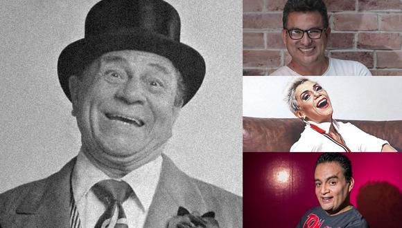 A la izquierda, Alex Valle, uno de los referentes de la comedia nacional. A la derecha, Hernán Vidaurre, Bettina Oneto y Jorge Benavides; humoristas locales que lo recuerdan. (Fotos: Archivo de El Comercio)