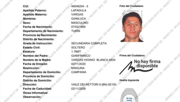 Ficha de Gianluca Lapadula en Reniec | Fuente: GEC