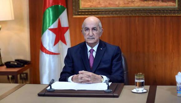 El presidente argelino Abdelmadjid Tebboune durante su discurso en el Palacio Presidencial en Argel, Argelia. (Foto: EFE / EPA / ARGELIA PRESIDENCIA).