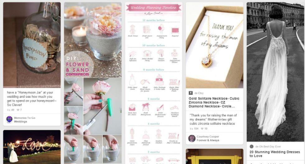 Pinterest te ayuda a ahorrar para el día de tu boda