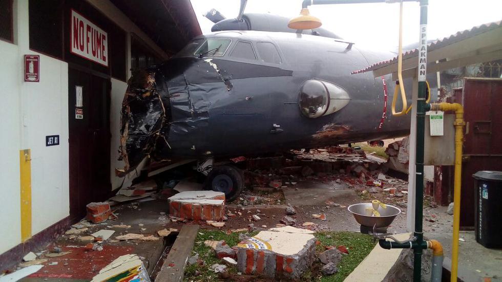 Así quedó el avión antonov.