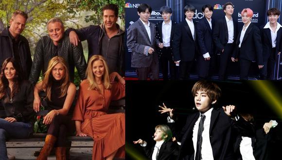 """A la izquierda, el elenco original de """"Friends"""" durante el programa especial que marcó su regreso a los estudios tras 17 años. A la derecha, la banda surcoreana BTS. (Fotos: HBO Max/ Yoan Valat para AFP)"""
