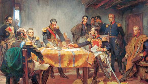 Pintura de la Capitulación de Ayacucho. (Foto: Andina)