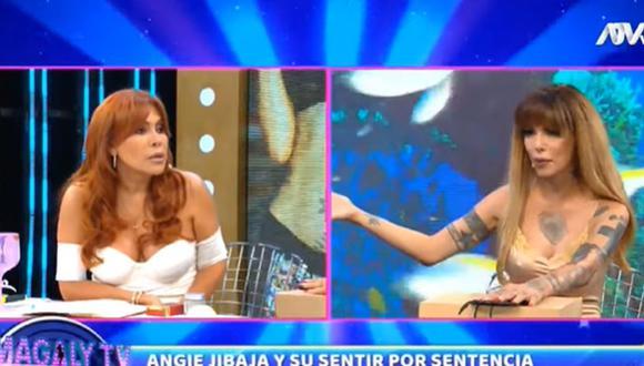 Magaly Medina y Angie Jibaja protagonizaron tensa discusión en vivo. (Foto: Captura de video)