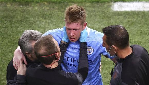 Kevin De Bruyne confirmó la lesión que sufrió durante la final de Champions League. (Foto: AP)