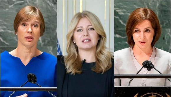 De izquierda a derecha: Kersti Kaljulaid, presidenta de Estonia; Zuzana Caputova, presidenta de Eslovaquia; y Maia Sandu, presidenta de Moldavia. Son las únicas 3 mujeres que se han presentado ante la Asamblea General de la ONU hasta este miércoles. Se espera que de los 196 líderes que hablarán hasta el lunes, solo 13 sean mujeres. (Fotos: AP / AFP).