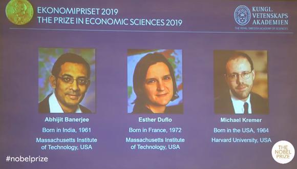 Abhijit Banerjee, Esther Duflot y Michael Kremer se han quedado con el galardón. (Premios Nobel)