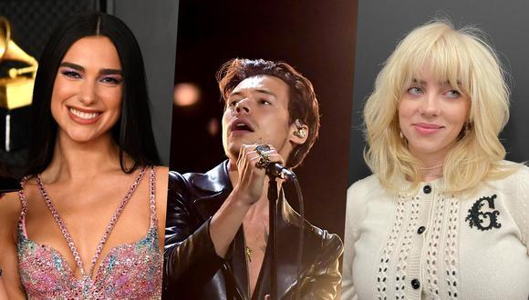 Los Brit Awards de este 2021 serán realizados frente a cuatro mil personas. En la imagen, de izquierda a derecha, los nominados Dua Lipa, Harry Styles y Billie Eilish. Fotos: Kevin Mazur para AFP/ @billieeilish en Instagram/ Kevin Winter para AFP.