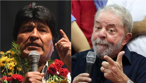Evo Morales y el saludo afectuoso a Lula a un día de las elecciones en Brasil. | Foto: AFP / EFE