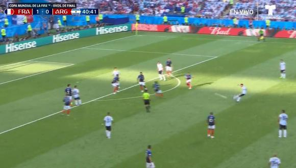 Argentina vs. Francia: Di María anoto espectacular golazo desde fuera del área. (Foto: Captura Telemundo)