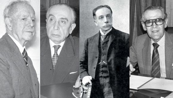 Cuatro de los fundadores de la Sociedad Peruana de Filosofía: Racso Miró Quesada, Honorio Delgado, Alejandro Deustua y Francisco Miró Quesada Cantuarias. (Fotos: Archivo El Comercio)