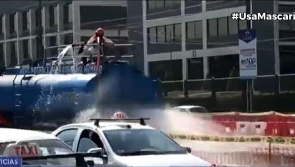 Emape desmintió que se esté usando agua potable en obras del óvalo Monitor. (Captura: Canal N)