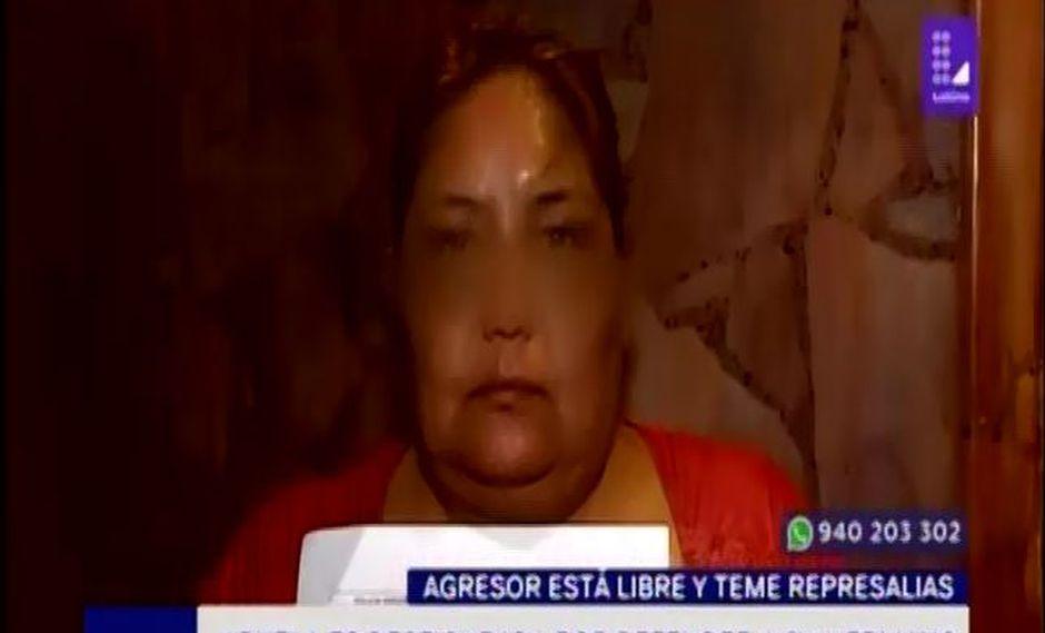 Victoria Campos del Carpio denuncia a hombre de haberla golpeado con un palo en el rostro. (Captura: Latina)