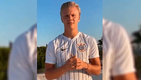 Erling Haaland apareció en sus redes sociales con la camiseta de Corinthians. (Foto: Instagram)