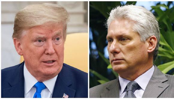 Los presidentes de Estados Unidos, Donald Trump, y de Cuba, Miguel Díaz-Canel. (Foto: AFP)